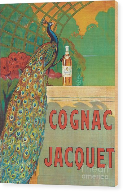 Vintage Poster Advertising Cognac Wood Print