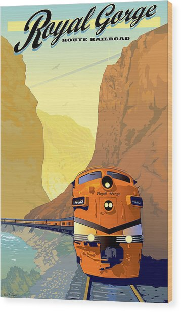 Vintage Railroad Poster Wood Print