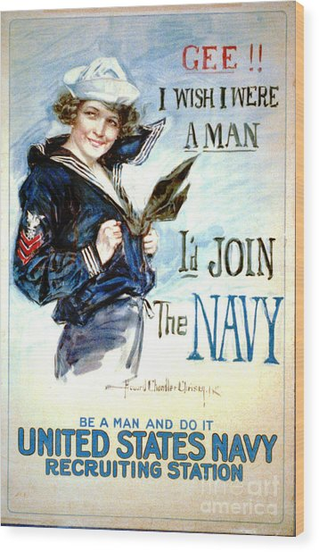 Vintage Recruiting Poster 1917 Wood Print by Padre Art