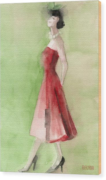 Vintage Red Cocktail Dress Fashion Illustration Art Print Wood Print