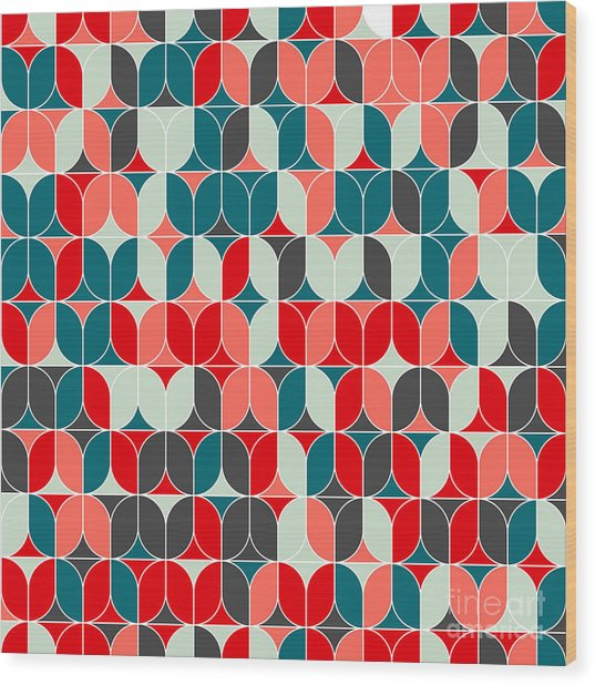 Vintage Seamless Geometrical Colorful Wood Print by Svetlana Lukoyanova