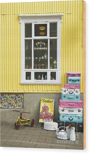 Vintage Shop In Akureyri Iceland Wood Print