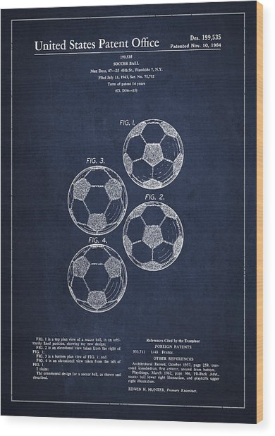 Vintage Soccer Ball Patent Drawing From 1964 Wood Print