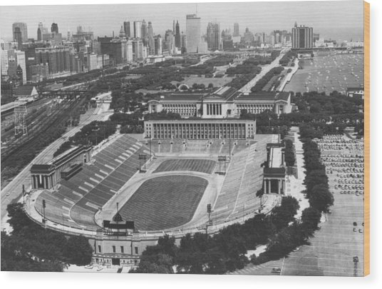 Vintage Soldier Field - Chicago Bears Stadium Wood Print