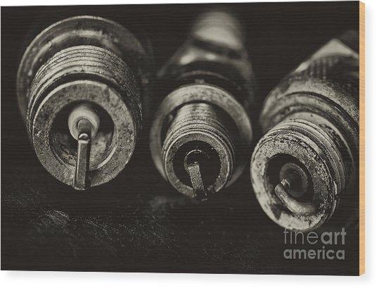 Vintage Spark Plugs  Wood Print by Wilma  Birdwell
