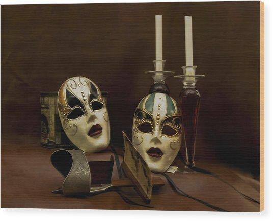 Vintage Still Life Of Venitian Mask Wood Print