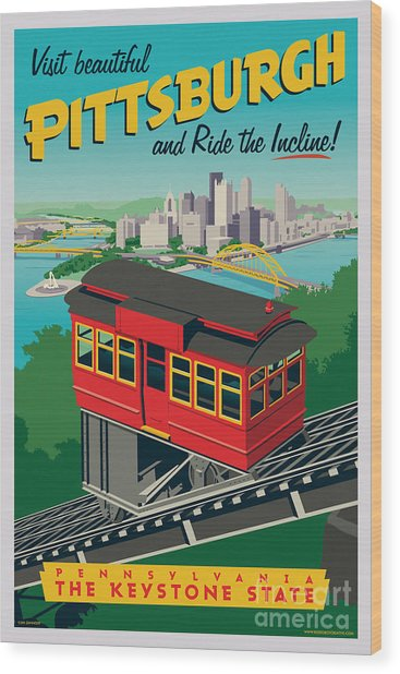 Vintage Style Pittsburgh Incline Travel Poster Wood Print