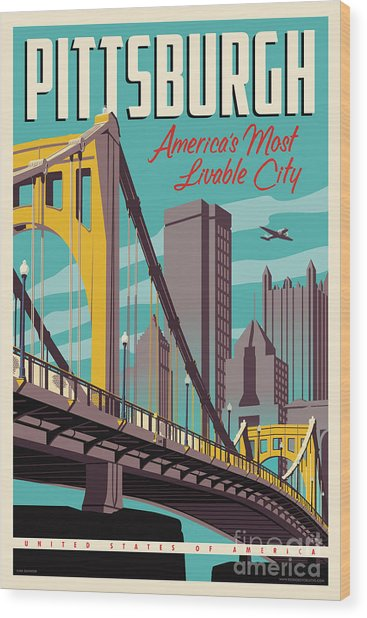 Pittsburgh Poster - Vintage Travel Bridges Wood Print