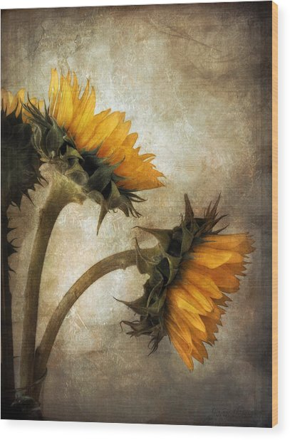 Vintage Sunflowers Wood Print