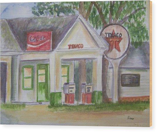 Vintage Texaco Gas Station Wood Print