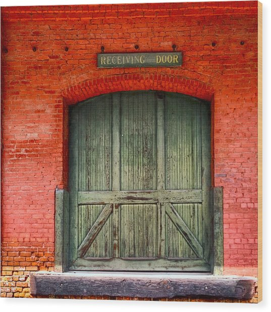 Vintage Train Depot Receiving Door - Augusta Wood Print