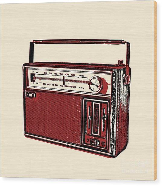 Vintage Transistor Radio Wood Print