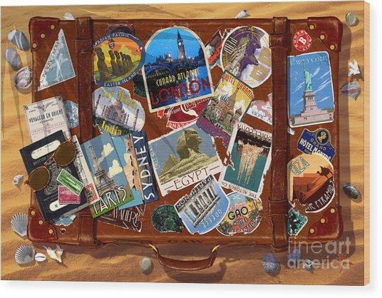 Vintage Travel Case Wood Print