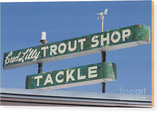 Vintage Trout Shop Sign West Yellowstone Wood Print