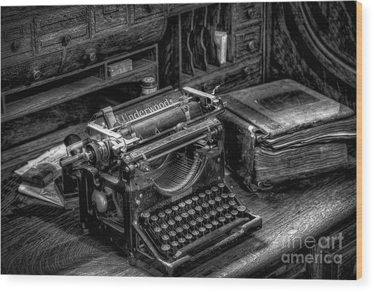 Vintage Typewriter Wood Print