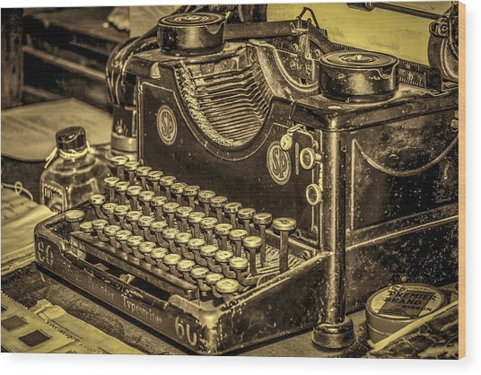 Vintage Typewriter Wood Print