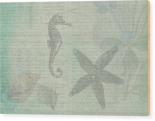 Vintage Under The Sea Wood Print