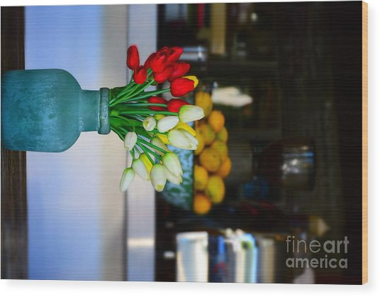 Vintage Vase And Rose Wood Print by Bobby Mandal