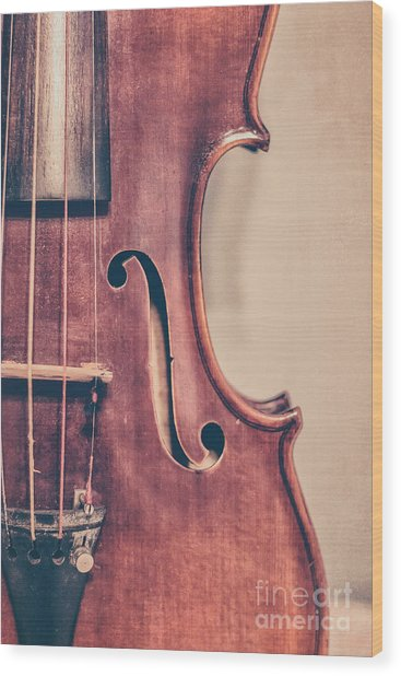 Vintage Violin Portrait 2 Wood Print