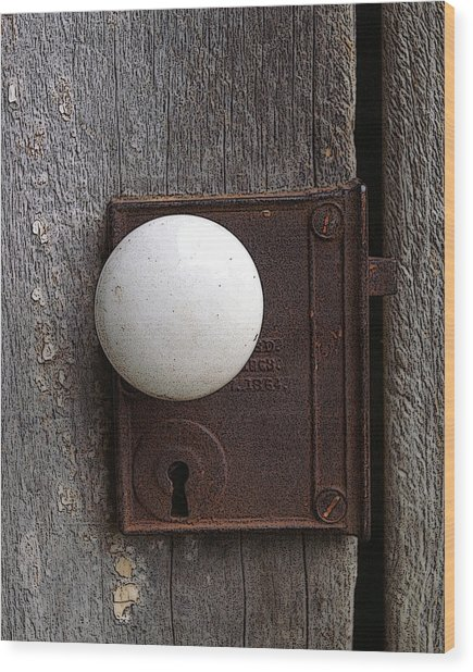 Vintage White Doorknob Wood Print