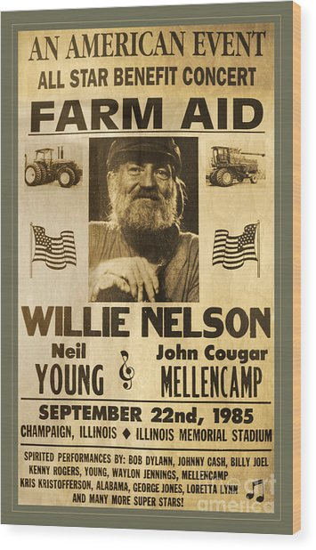 Vintage Willie Nelson 1985 Farm Aid Poster Wood Print