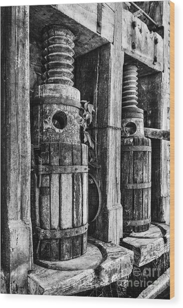 Vintage Wine Press Bw Wood Print