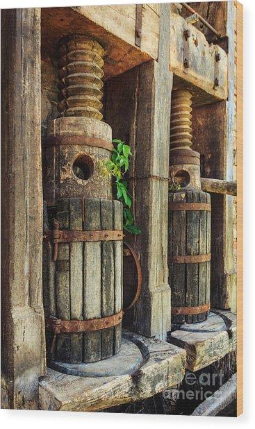 Vintage Wine Press Wood Print