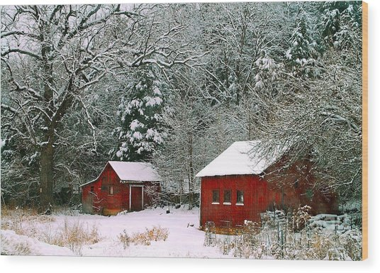 Vintage Winter Barn  Wood Print