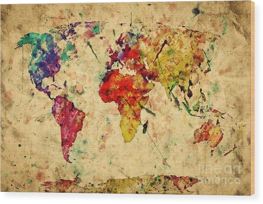 Vintage World Map Wood Print