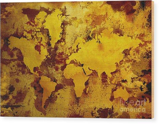 Vintage World Map Wood Print