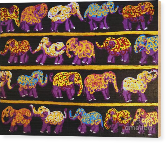 Violet Elephants Wood Print