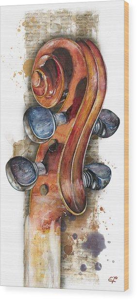 Violin 02 Elena Yakubovich Wood Print