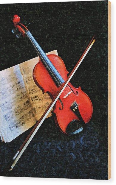 Violin Impression Redux Wood Print