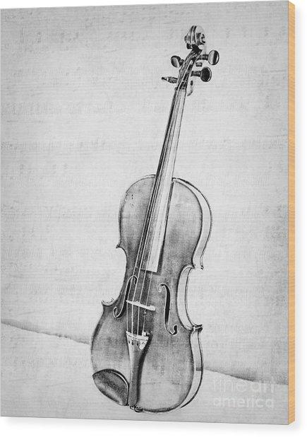 Violin In Black And White Wood Print