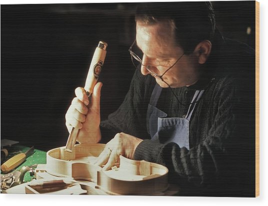 Violin-maker At Work Wood Print