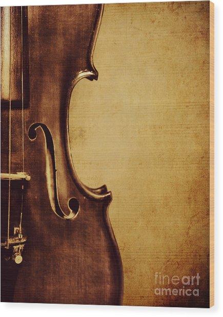 Violin Portrait  Wood Print