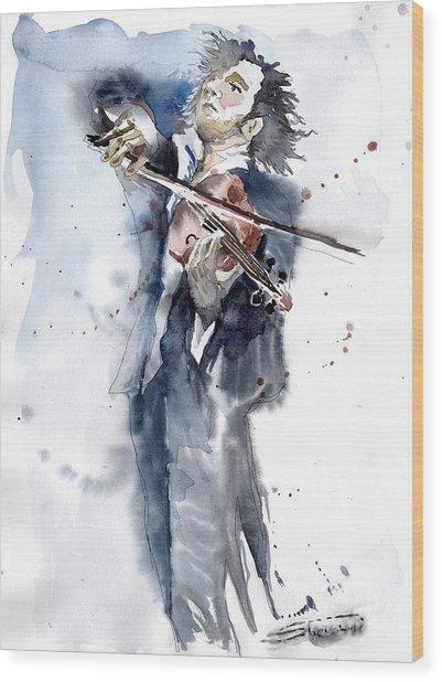 Violine Player 1 Wood Print