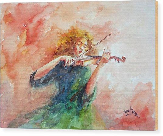 Violinist Wood Print