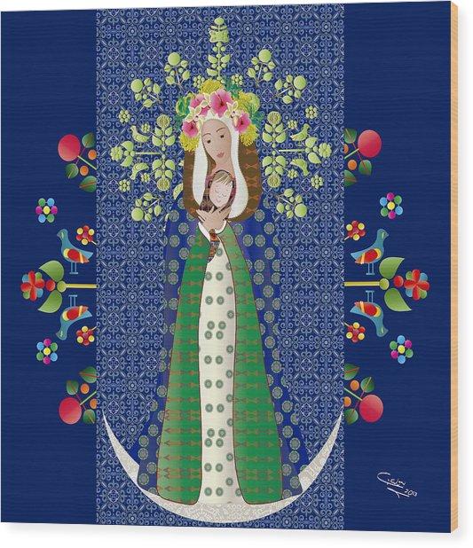 Virgen Chinita Wood Print