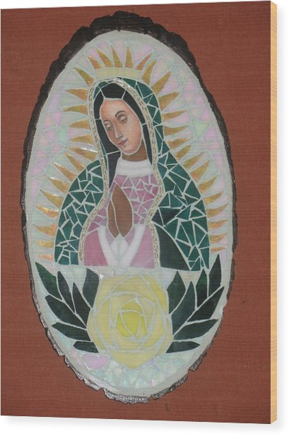 Virgen De Guadalupe Wood Print by Rosa Cardenas