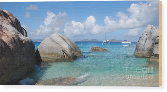Virgin Islands The Baths With Boats Wood Print