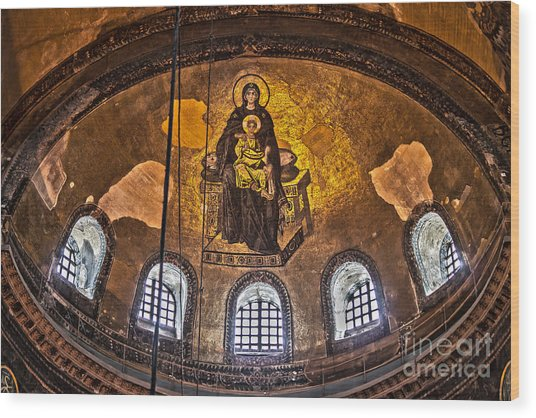 Virgin Mary And Child Mosaic At The Hagia Sophia Wood Print