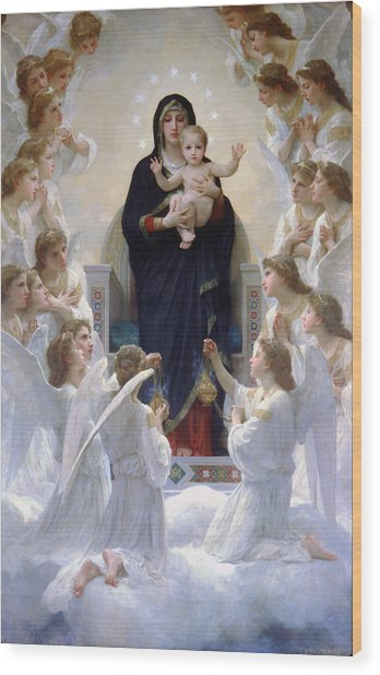 Virgin Mary With Angels Wood Print