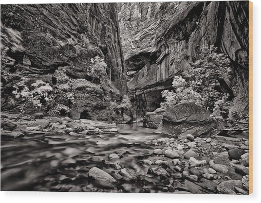 Virgin River Calm Wood Print by Juan Carlos Diaz Parra