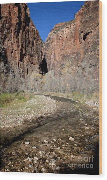 Virgin River Cliffs Wood Print