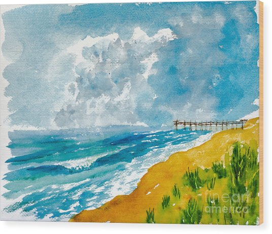 Virginia Beach With Pier Wood Print