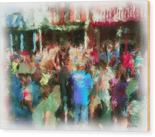 Virginia City Crowd Impressionisti Wood Print