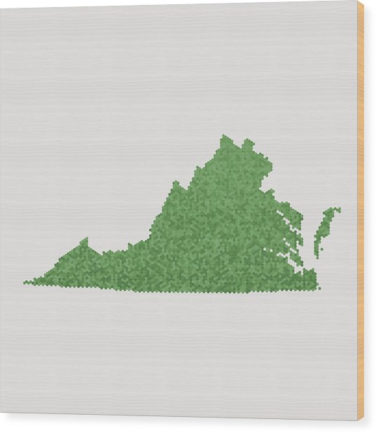 Virginia State Map Green Hexagon Pattern Wood Print by FrankRamspott