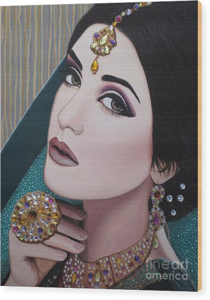 Viridian Indian Beauty Wood Print