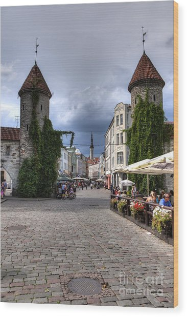 Viru Gate Tallinn Estonia Wood Print